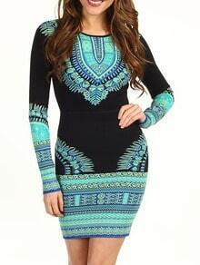 Seafoam Long Sleeve Hourglass Graphic Print Bodyform Tight Dress