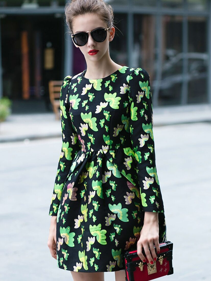 Green Round Neck Long Sleeve Floral Print Dress