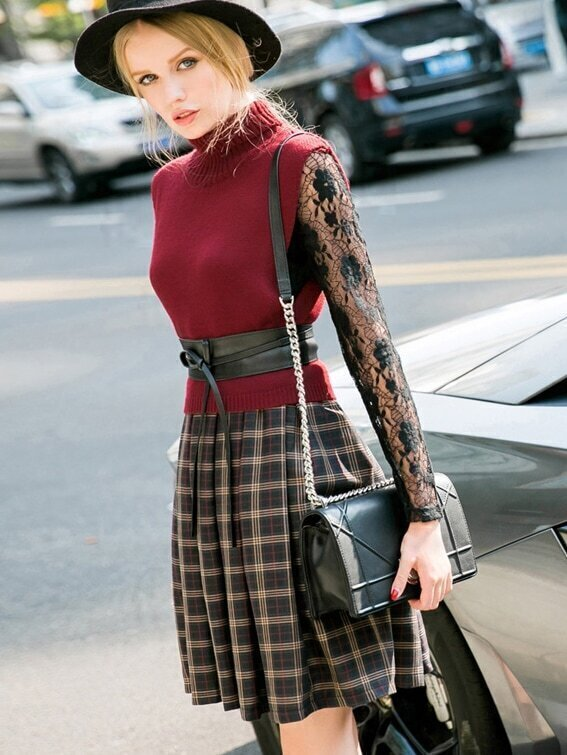 Win Red Knit Contrast Lace Long Sleeve Tie-Waist Dress