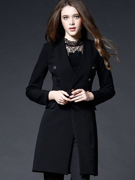 Black V Neck Long Sleeve Coat