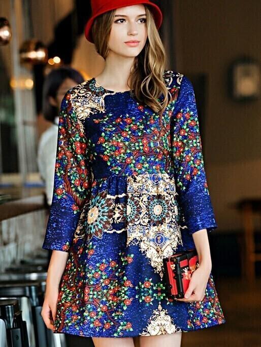 Blue Round Neck Length Sleeve Print Dress