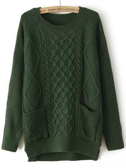 Green Round Neck Pockets Cable Knit Sweater