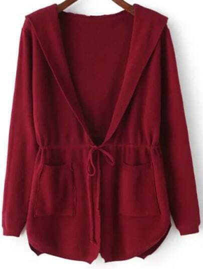 Red Hooded Long Sleeve Pockets Cardigan