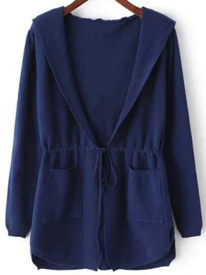 Blue Hooded Long Sleeve Pockets Cardigan