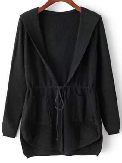 Black Hooded Long Sleeve Pockets Cardigan