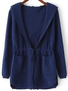 Blue Hooded Long Sleeve Pockets Cardigan