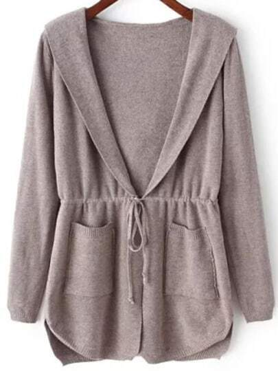 Coffee Hooded Long Sleeve Pockets Cardigan