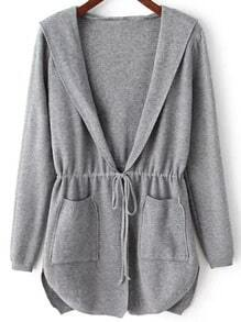 Grey Hooded Long Sleeve Pockets Cardigan