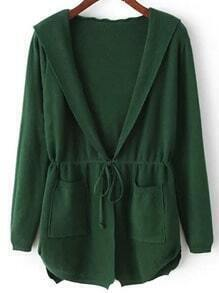 Green Hooded Long Sleeve Pockets Cardigan
