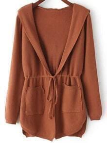 Khaki Hooded Long Sleeve Pockets Cardigan