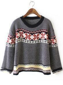 Black White Round Neck Snowflake Print Sweater
