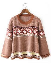 Khaki White Round Neck Snowflake Print Sweater