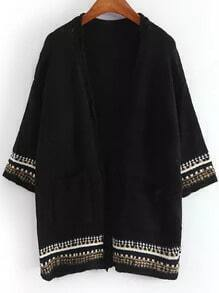 Black Vintage Pockets Mohair Cardigan