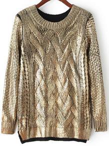 Gold Round Neck Cable Knit Loose Sweater