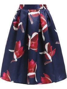 Blue Red High Waist Floral Flare Skirt