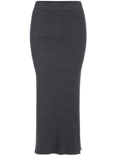 Grey Slim Split Knit Skirt