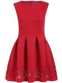 Red Round Neck Hollow Carving Flare Dress