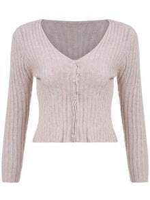 Apricot V Neck Buttons Crop Knitwear