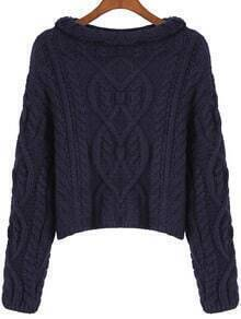 Navy Long Sleeve Cable Knit Crop Sweater