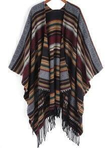 Multicolor Striped Tassel Loose Knit Cape