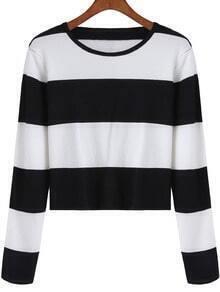 Black White Round Neck Striped Crop Top