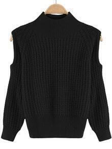 Black Crew Neck Off the Shoulder Knit Sweater
