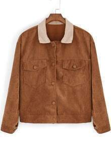 Khaki Lapel Pockets Crop Corduroy Jacket