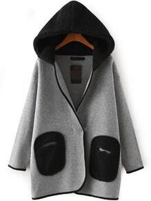 Hooded Patch Pockets Loose Coat