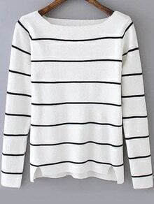 Square Neck Striped White Sweater