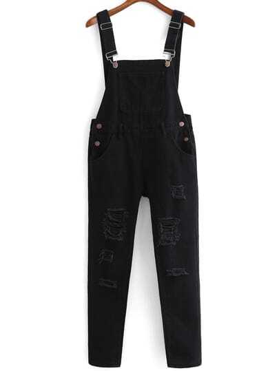 Strap With Pocket Ripped Denim Jumpsuit