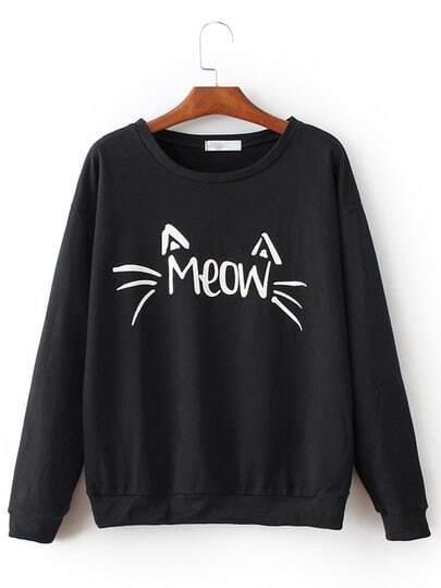 Sweatshirt chat imprimé décontracté - Noir