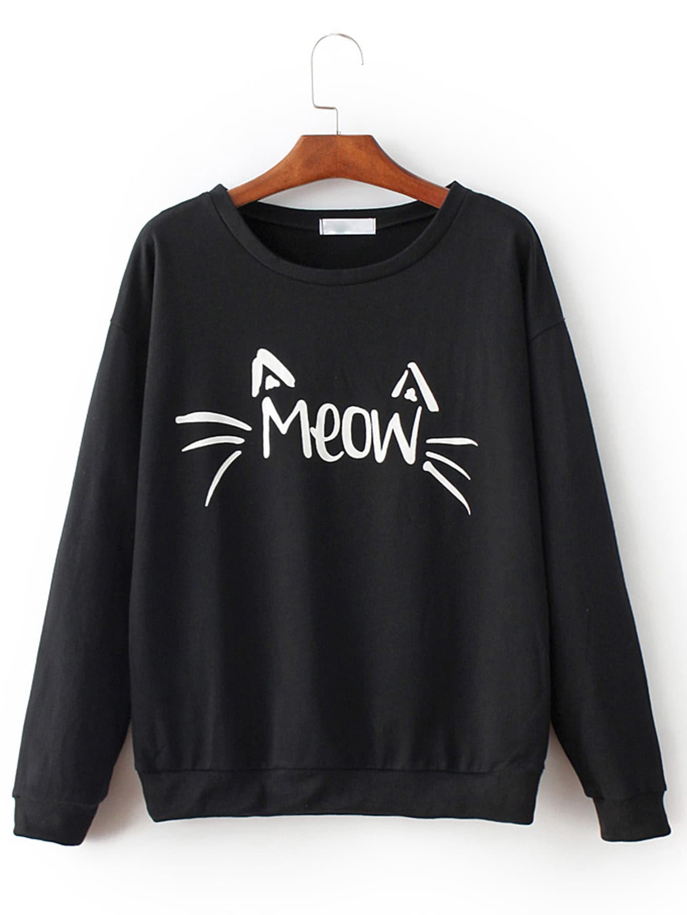 MEOW Cat Print Loose Black Sweatshirt