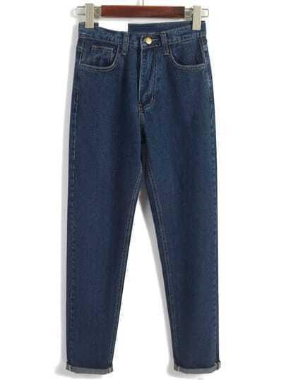 Vintage High Waist Denim Navy Pant