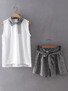 Contrast Collar Sleeveless Top With Belt Shorts