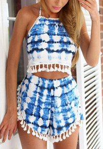 Halter Florals Crop Top With Tassel Blue Shorts