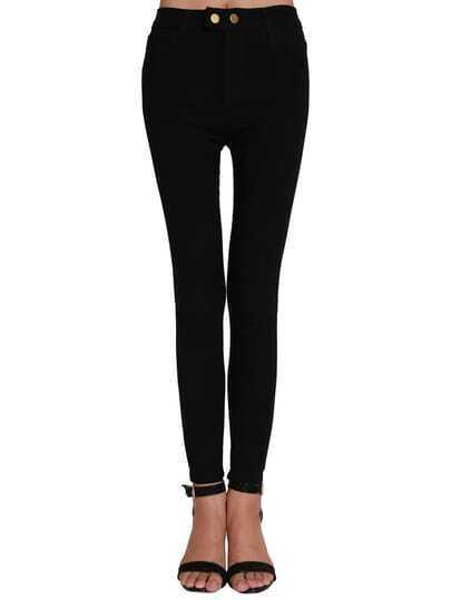 Buttons Skinny Denim Leggings