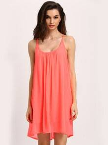 Spaghetti Strap Hollow Shift Neon Red Braces Sun Slip Dresses
