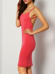 Spaghetti Strap Backless Bodycon Red Dress