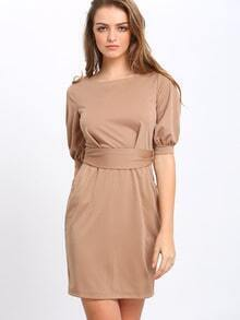 Mocha Half Sleeve Careers With Belt Slim Khaki Dress