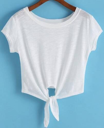 Как сделать футболку с завязками внизу