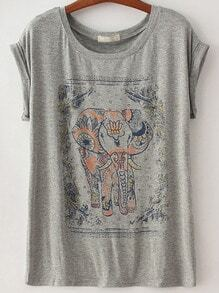 Elephant Print Grey T-Shirt