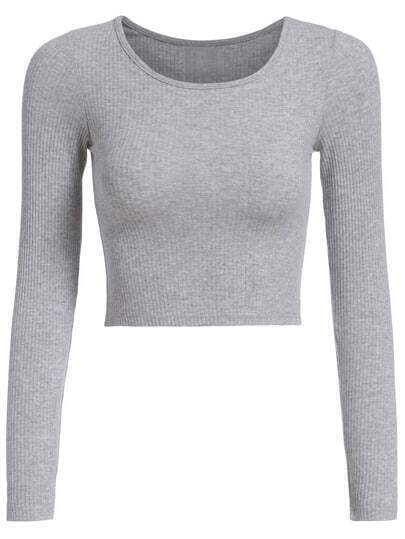 Long Sleeve Crop Grey T-shirt