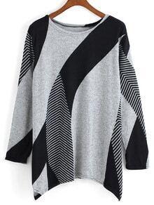 Long Sleeve Geometric Print T-shirt
