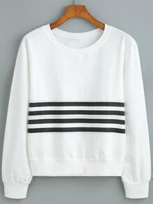 Round Neck Striped Loose Sweatshirt