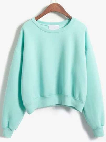 Round Neck Crop Green Sweatshirt