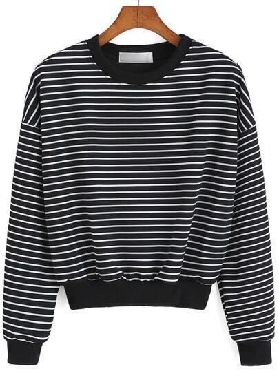 Round Neck Striped Black Sweatshirt