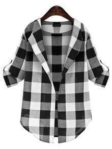 Drape Front Checked Plaid Blouse