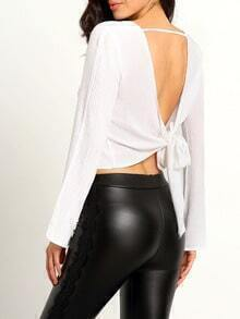 Bell Sleeve Open Back Knotted Top
