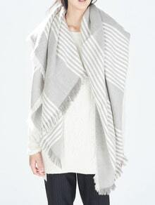 Striped Frayed Scarf