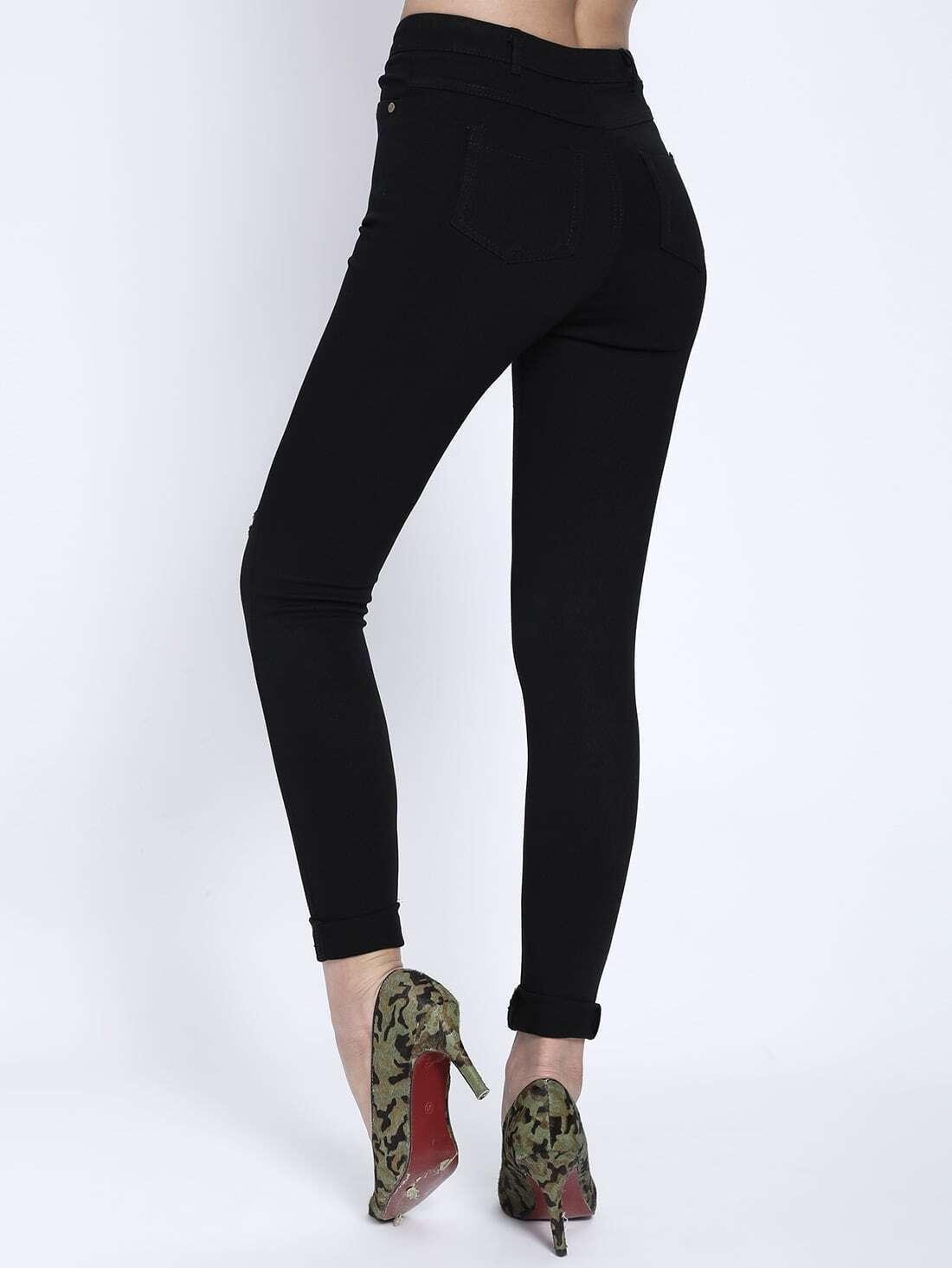 schmale jeans mit zerrissenen design german shein sheinside. Black Bedroom Furniture Sets. Home Design Ideas
